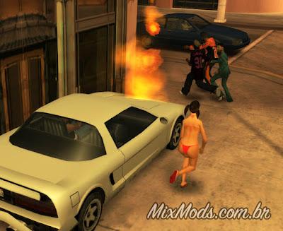 gta sa san mod pedestres correm carro pegando fogo