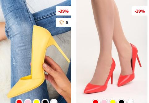 Pantofi stiletto cu toc inalt ieftini pentru nunta rosii, Galbeni