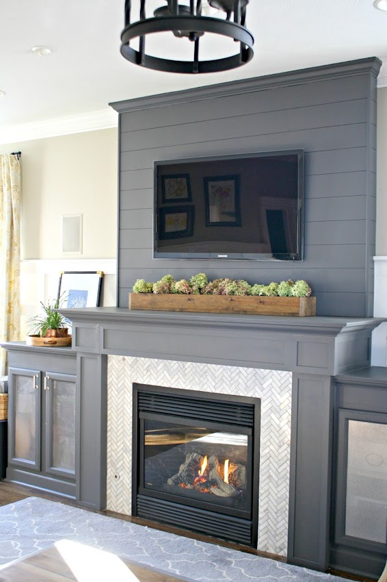 gray and marble fireplace