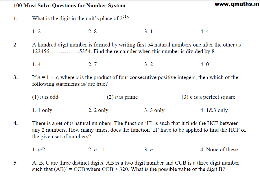 top 100 questions on number systems solved for ssc bank etc