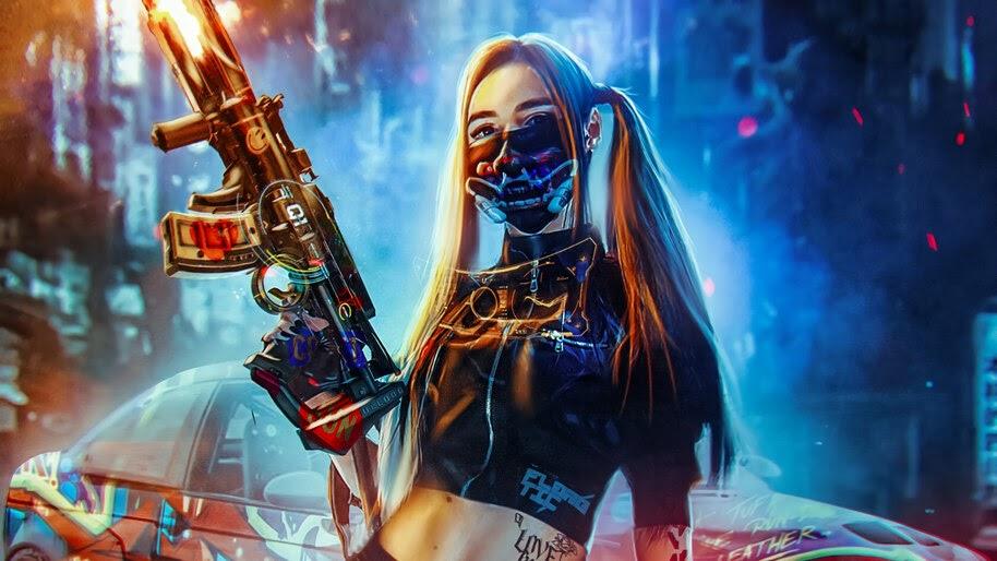Cyberpunk, Girl, Guns, Rifle, Sci-Fi, 4K, #4.1055