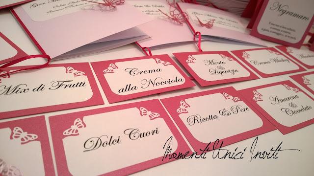 4 I coordinati nei toni del fucsia e rosa tenue di Dalila e Gian MarioColore Fucsia Colore Rosa Colore Rosa Cipria Partecipazioni intagliate Tema Farfalle