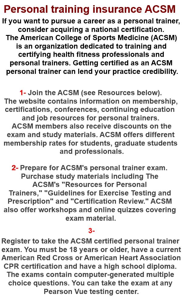 Personal Training: Acsm Personal Training Certification