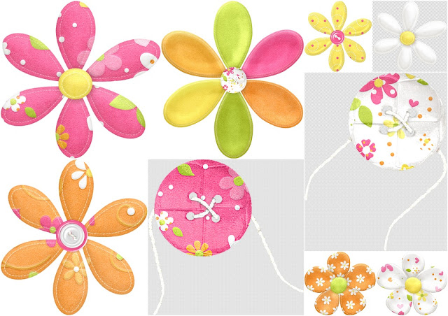 Flowers and Buttons of the Spring Easter Clip Art.