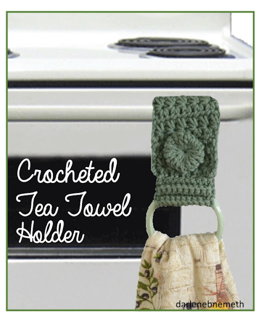 crocheted tea towel holder