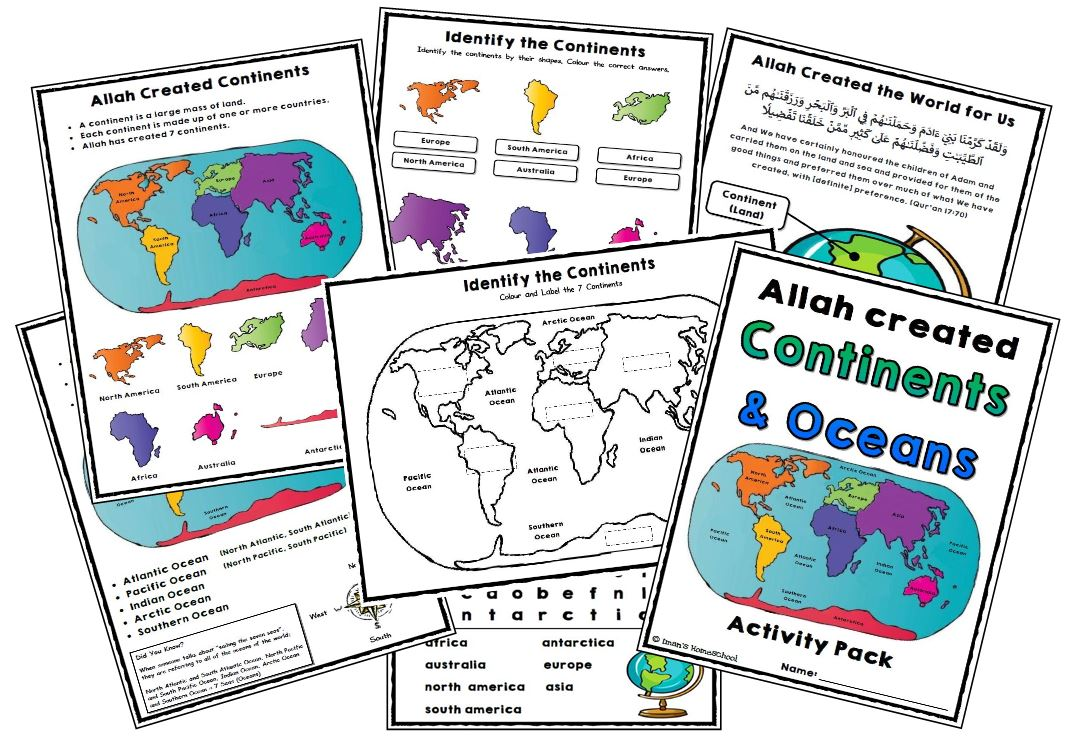NEW UPLOAD Continents & Ocean Activity Pack