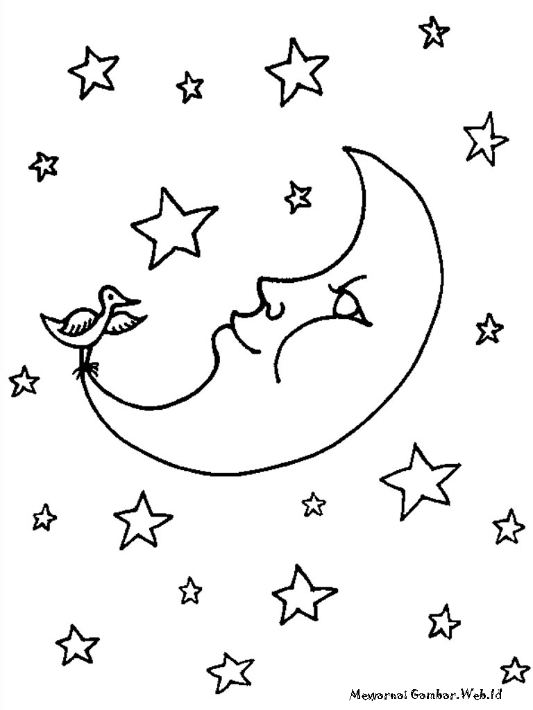 Mewarnai Bulan Bintang Warna Devia