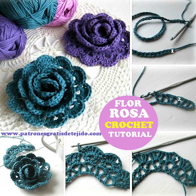 tutorial rosa crochet