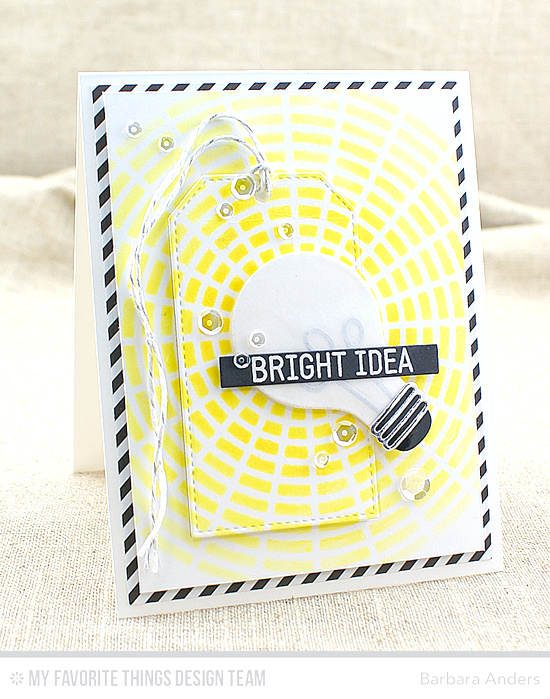 Bright Idea Card by Barbara Anders featuring the Laina Lamb Design Watt's Up? stamp set, the Lightbulb and Stitched Traditional Tag STAX Die-namics, and the Concentric Circle Grid stencil #mftstamps