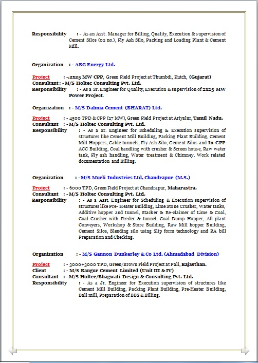 RESUME BLOG CO: Resume Sample of B. Tech. & Diploma – Civil working as Manager-Civil Project ...