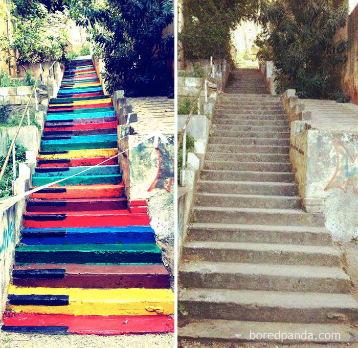 10+ Incredible Before & After Street Art Transformations That'll Make You Say Wow - Colorful Piano Stairs In Beirut, Lebanon