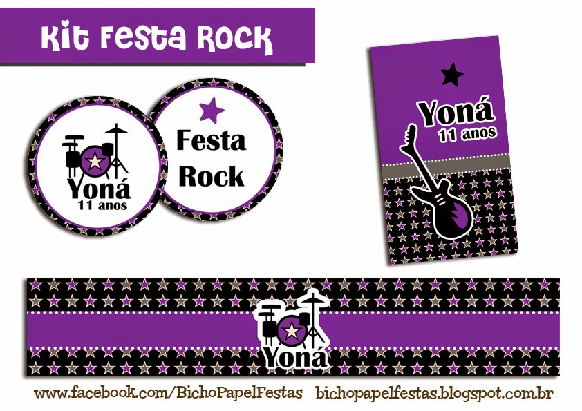 Kit Festa Rock Lilás e Preto