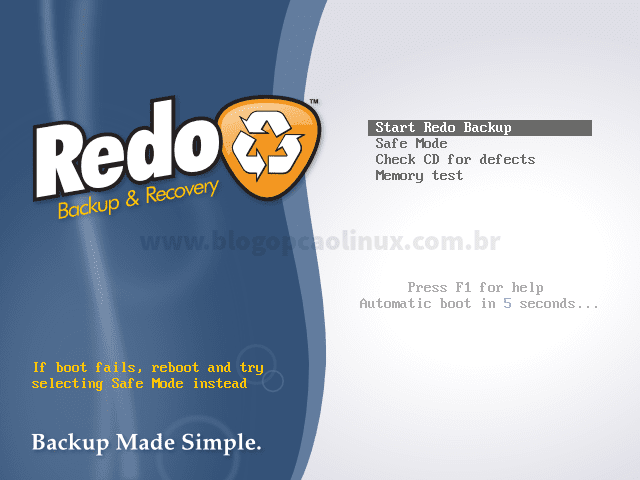 Tela de boot do Redo Backup and Recovery