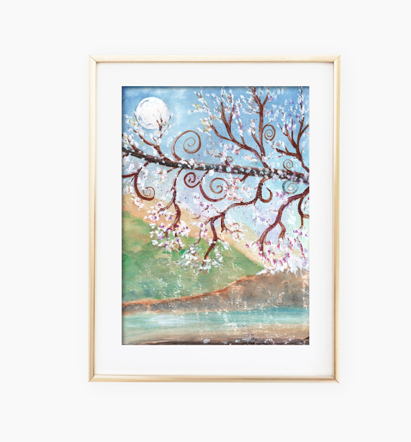 Watercolor Moonlight Art Print