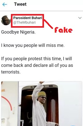 President Buhari's fake Twitter handle