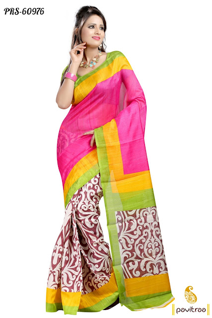 multicolor bhagalpuri silk saree online shopping at low cost for women