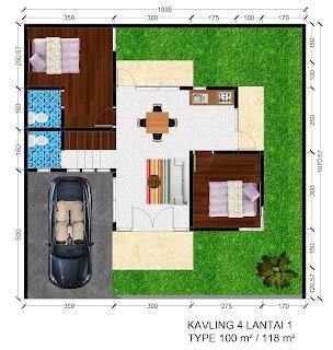 Gambar denah Rumah Griya Permai Sidoarum Kavling 4 Lantai 1