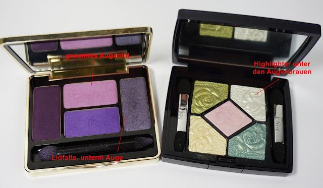 Guerlain Écrin 4 Couleurs (01 Les Violets), Dior - 5 Couleurs Garden Edition (441 garden pastels) (Frühjahrskollektion 2012