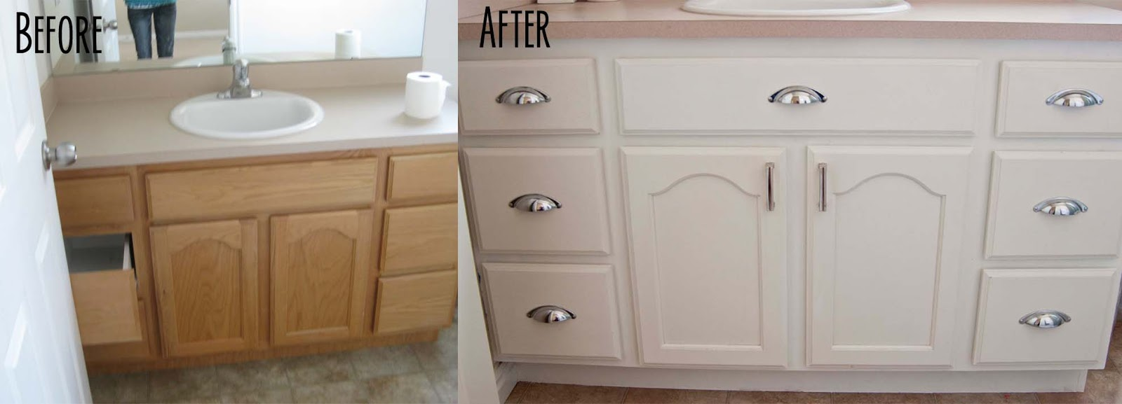 A few of my favorite things master bath before and after for Can kitchen cabinets be painted white