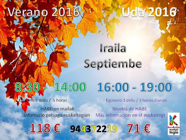 Cursos de septiembre del euskaltegi municipal de Barakaldo