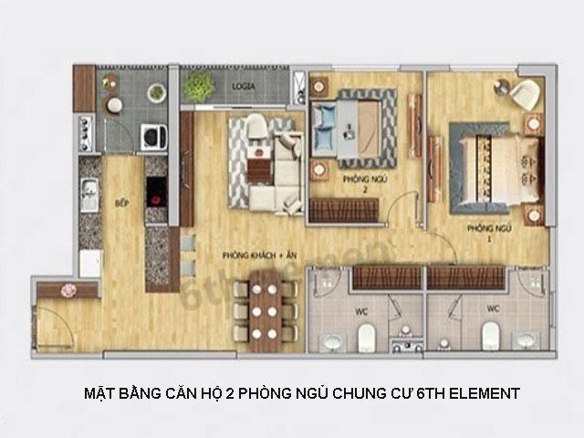 Thiết kế mặt bằng căn hộ 2 PN