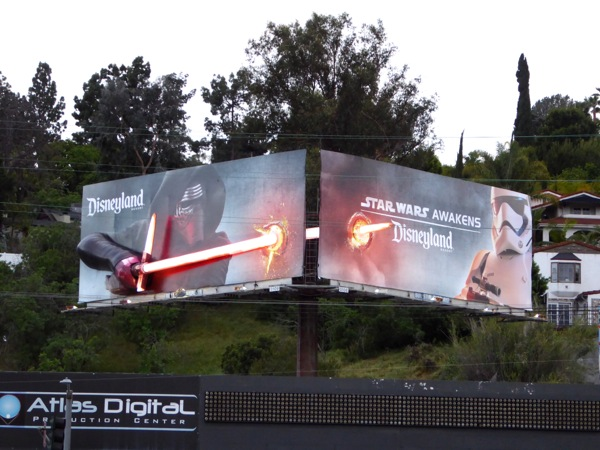 3D Kylo Ren lightsaber Disneyland Star Wars Awakens billboards