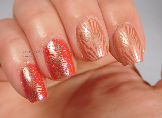 UberChic Beauty 18-03 over Zoya Sawyer and Girly Bits Brick House