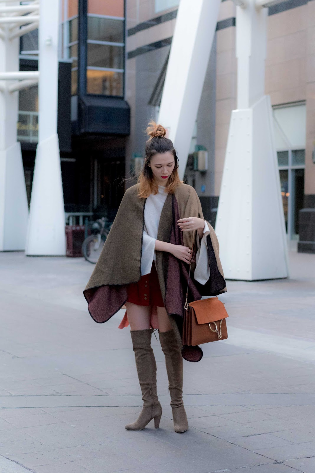 over the knee boots, Poncho, blanket scarf, chloe faye