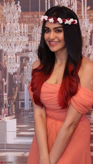 Adah Sharma Looks Angelic Beauty in off Shoulder Orange Gown Spicy Pics February 2017 001.jpg