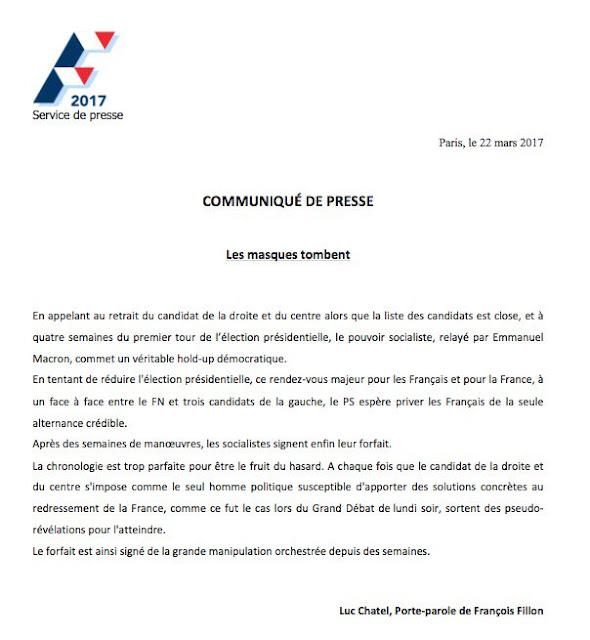 Les Républicains répondent au communiqué du PS appelant au retrait de François Fillon