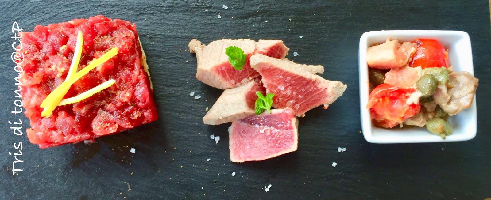 Tartare di tonno su base croccante - spezzatino di tonno in vaso cottura -  scotatta di tonno alessandra ruggeri finocchietto selvativo capperi
