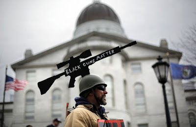 Gun rights activists rallied at state capitols across the United States carrying various firearms- rifles, handguns, placards, banners... protesting the demands for tougher gun laws following the February school shooting in Parkland, Florida, that killed 17.  One group, National Constitutional Coalition of Patriotic Americans, says organizers have permits to rally in 45 states and encouraged supporters to bring unloaded rifles in states where it's legal.