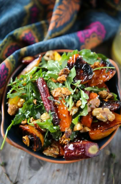 Roasted Beet & Carrot Salad with Honey Thyme Vinaigrette