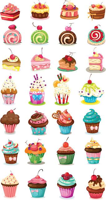 28 vectores de tartas y pasteles