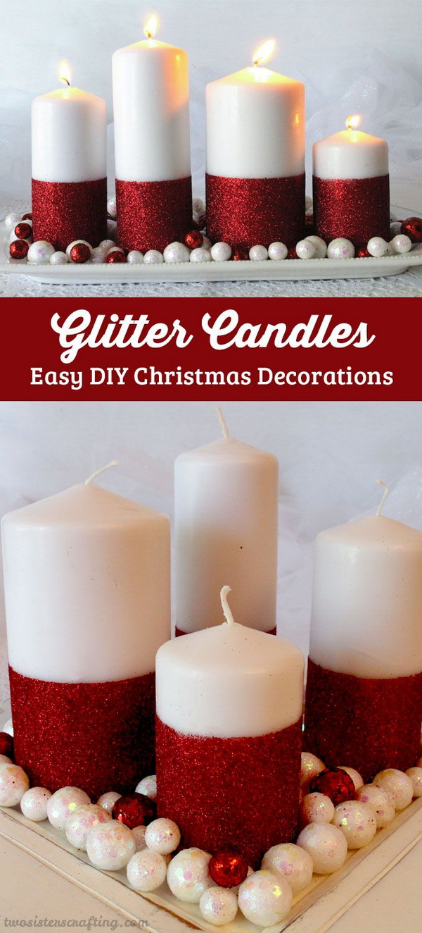 20 awesome glitter diys for holiday decoration crazzy craft for 7 candle christmas decoration