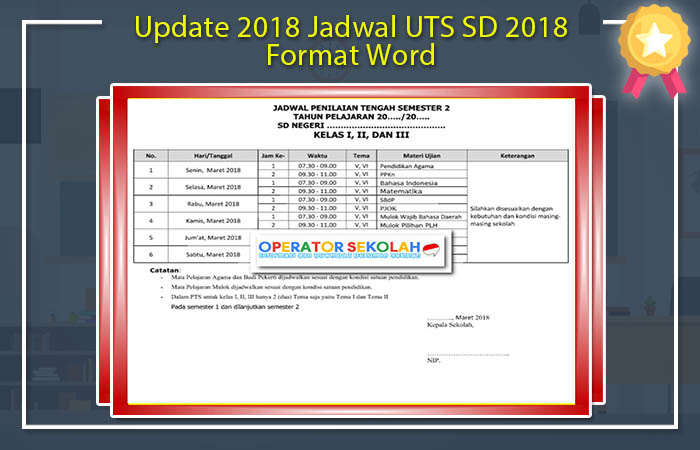Jadwal UTS SD 2018