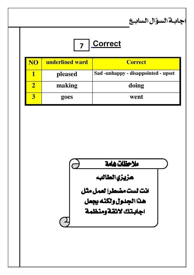 كيف تنظم ورقة اجابتك في امتحان اللغة الانجليزية ؟ ..   Mr-Saber Elboshy  8