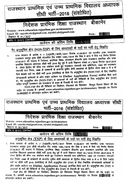 Rajasthan Primary & Upper Primary Teacher Recruitment 2017 (7500 Posts)