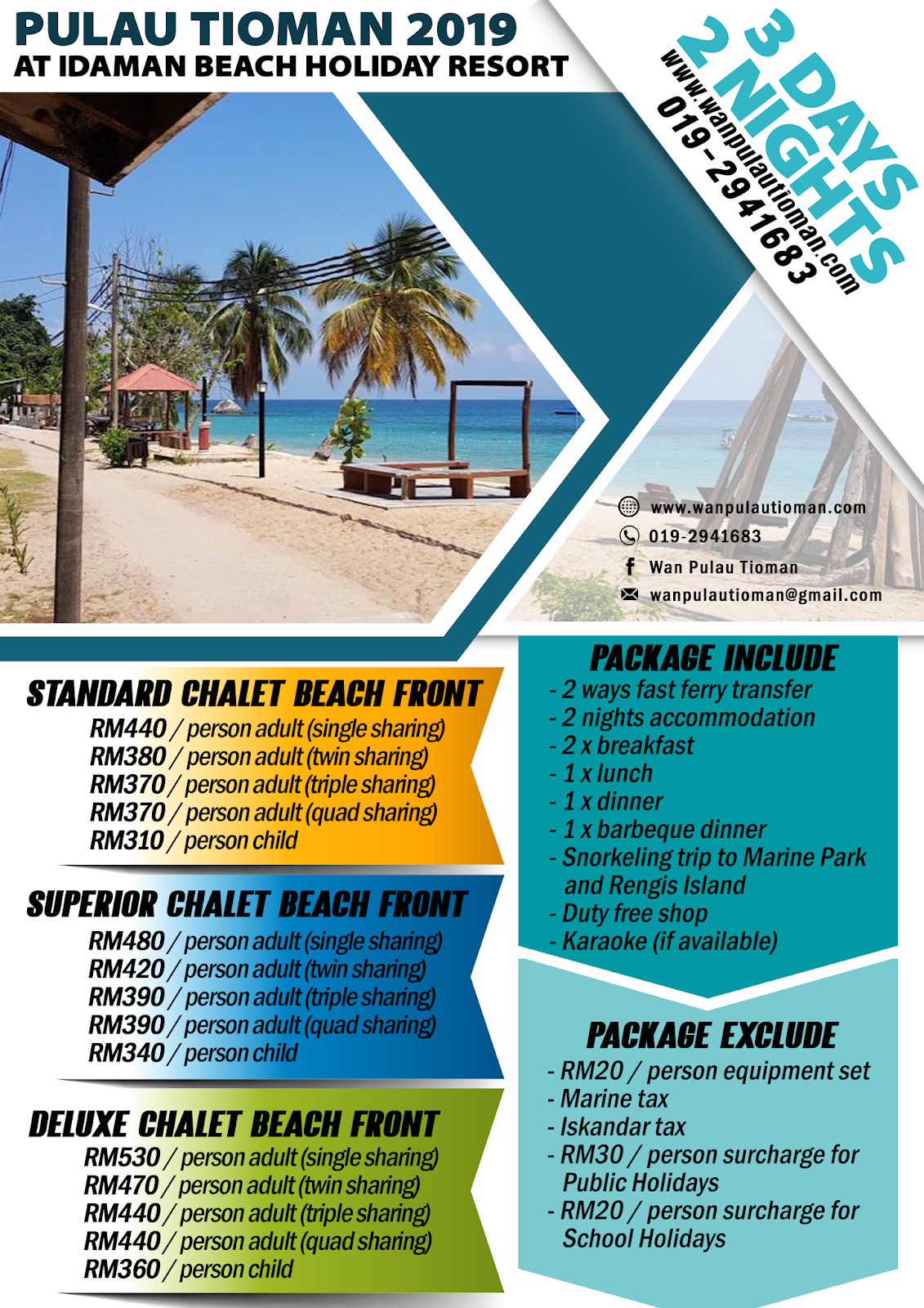 2019 3 Days 2 Nights at Idaman Beach Holiday Resort - Pulau Tioman Malaysia