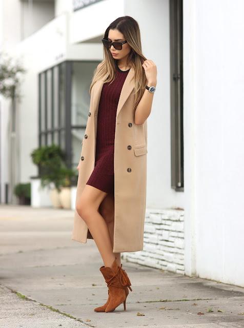 c576caec4232 Sleeveless Wool Coat  Missguided    Dress  Forever 21    Nude Matte Lips   Lancôme    Shoes  Schutz