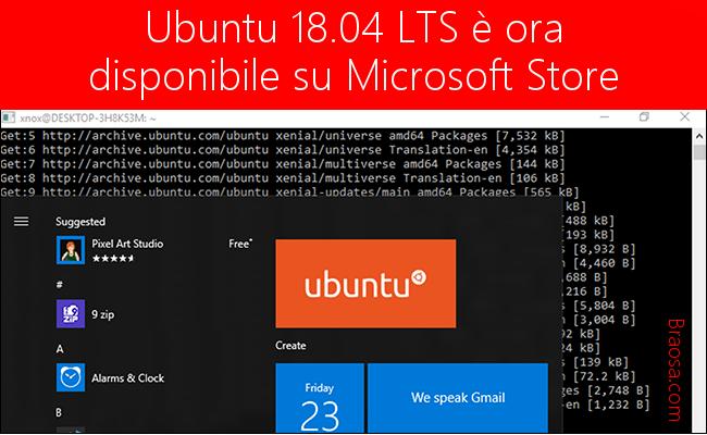 Ubuntu LTS disponibile sullo Store Microsoft