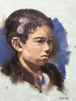 child portrait from life, oil on linen 30x40cm by portrait painter Philine van der Vegte