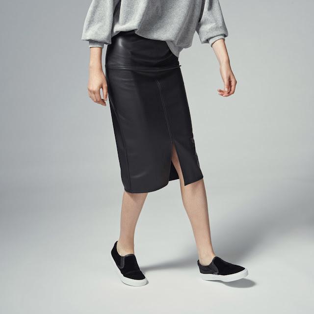 warehouse leather skirt, leather pencil skirt, leather midi skirt,