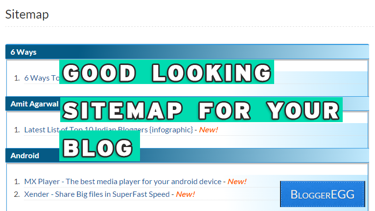 good looking sitemap page for your blogger blog