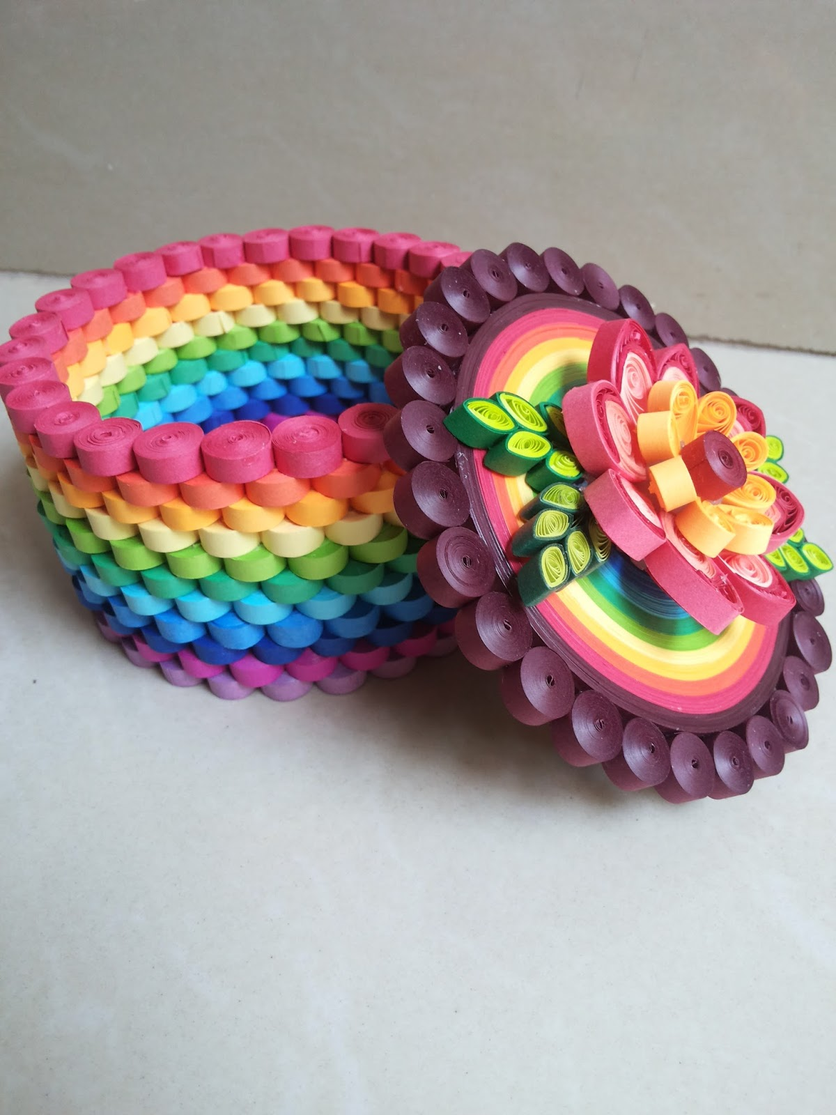 Shivani creations quilled rainbow box for How to use quilling strips