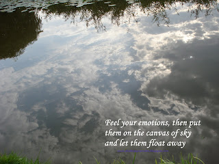 Image of the sky and clouds reflected in water with text: Feel your emotions, then put them on the canvas of sky and let them float away