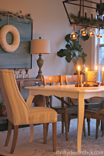 Christmas dining area with candles