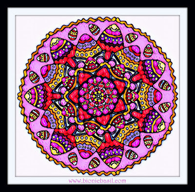Colouring With Cats  Mandala #85 ©BionicBasil®  Coloured by Cathrine Garnell 21-4-19