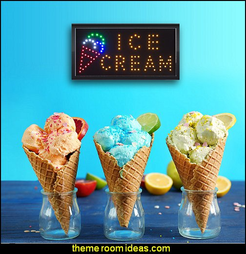 Ice Cream LED Sign, Lighted Neon Electric Sign  circus bedroom ideas - circus theme bedroom decor - carnival theme bedrooms - decorating circus theme bedrooms - Ice Cream theme decor - balloon decor - Disney Dumbo - circus party theme - Roller Coaster Amusement Park wall decals - ice cream party decorations