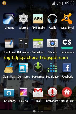 menú launcher de aplicaciones en android 4.4.2 kitkat LG